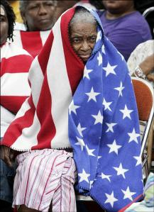 black woman and flag