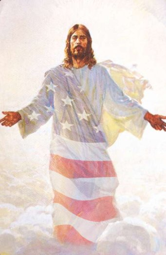 Image result for picture of jesus in an american flag