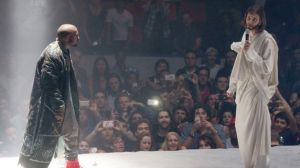"Kanye at a recent concert talking to ""Jesus.""  I still think it would have been more radical if he had imaged Jesus other than that of a white guy."